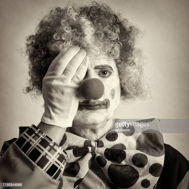 black and white clown_3 - ian gwinn stock pictures, royalty-free photos & images