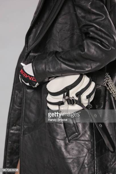 A black and white clutch or fanny pack detail during the Alexander Wang Resort Runway show June 2018 New York Fashion Week on June 3 2018 in New York...
