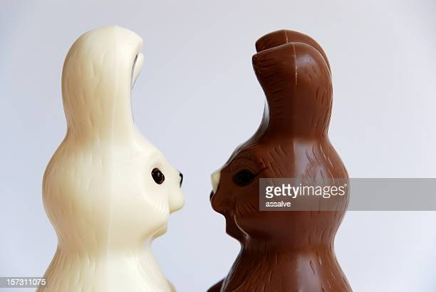 black and white easter bunnies side view