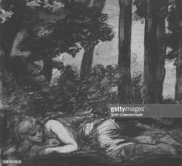 Black and white etching depicting a nymph lying languidly on her side at the edge of a stream with her body facing the viewer and with a dark stand...