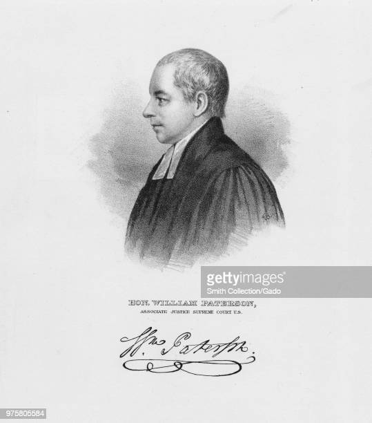 Black and white etching depicting a profile headshot portrait of New Jersey statesman US Constitution signatory and United States Supreme Court...