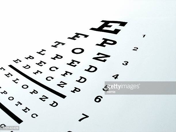 Black and white eye chart captured on a slope