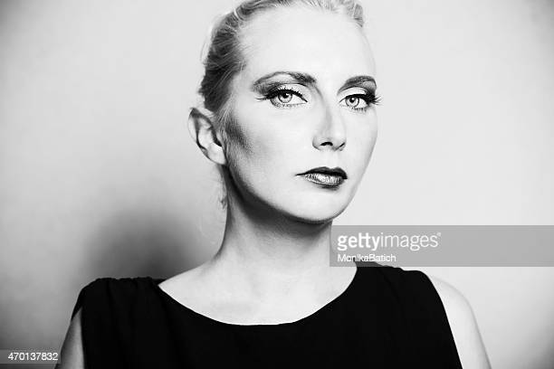 black and white female portrait - high contrast stock pictures, royalty-free photos & images