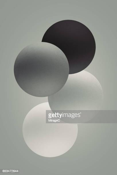 Black And White Gradient Spheres Levitation