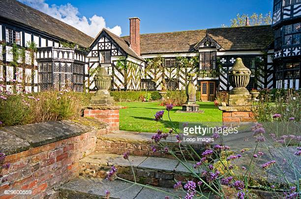 Black and white half timbered medieval Gawsworth Old Hall in Cheshire Gawsworth Old Hall England