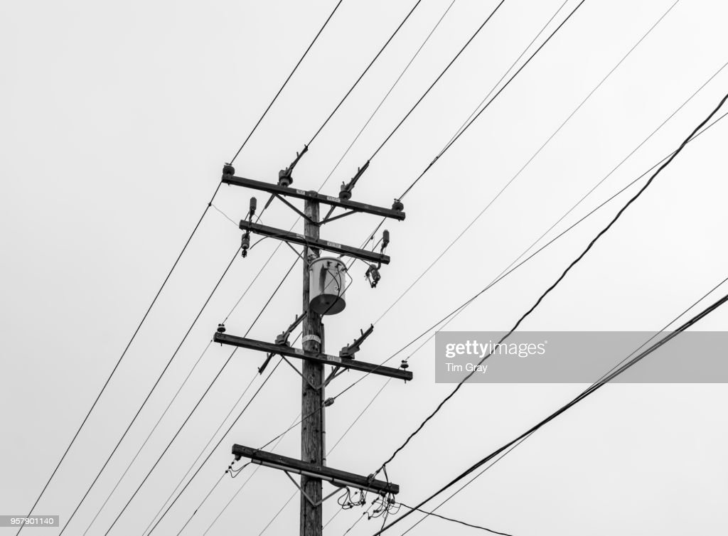 Black and white high voltage : Stock Photo