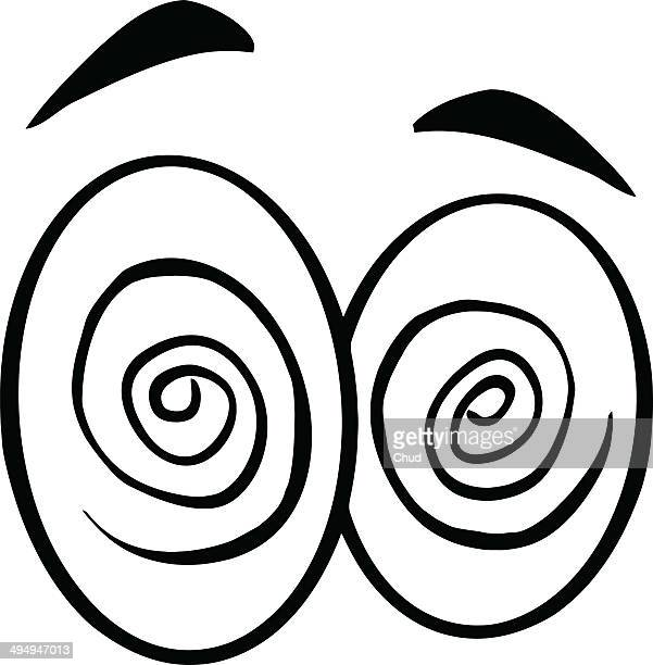 black and white hypnotized cartoon eyes - hypnose photos et images de collection