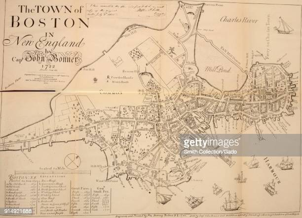 Black and white illustration depicting a map of the city of Boston Massachusetts USA in the year 1722 with points of interest and areas suffering...