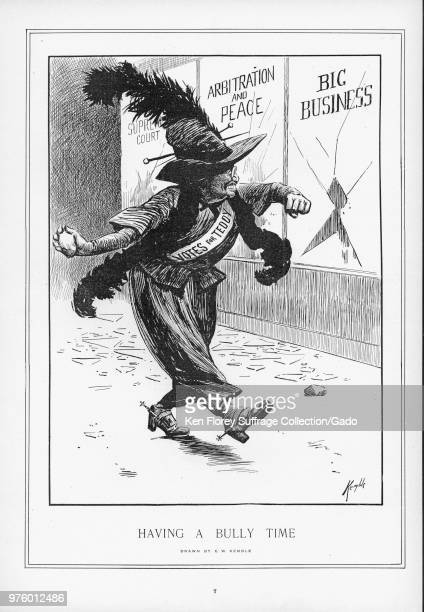Black and white illustration depicting Theodore Roosevelt as a militant suffragette wearing Edwardian Women's clothing with a feather boa and large...