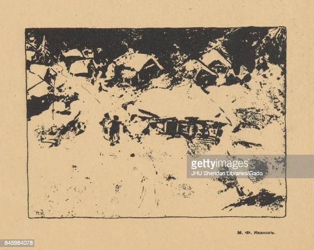 Black and white illustration of a man and woman walking through a village covered in snow from the Russian satirical journal Gamayun 1906