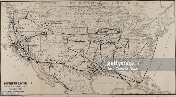 Black and white illustration of a map of the United States of America showing travel routes by land and sea captioned 'Southern Pacific Atlantic...