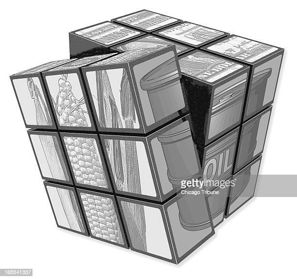 black and white illustration of a Rubik's cube with faces showing oil crops and money Can be used with stories about commodities and exchange traded...