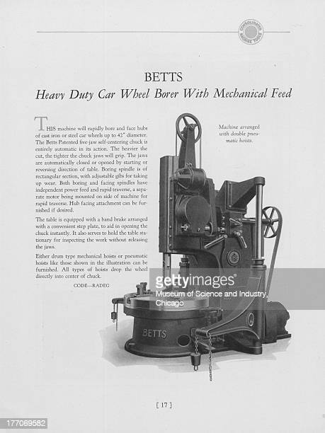 A black and white illustration showing an image of a Betts Heavy Duty Car Wheel Borer with Mechanical Feed which is a machine arranged with double...