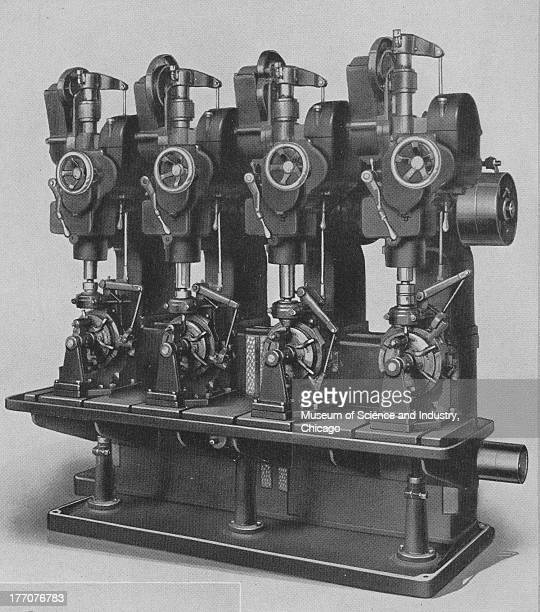 A black and white illustration showing an image of a Colburn Number 2 special fourspindle manufacturing type drill press with cam feed equipped with...