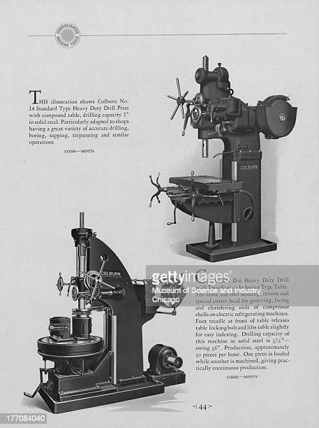 A black and white illustrations showing images of a Colburn D6 Heavy Duty Drill which has two station indexing type table which is at the lower left...