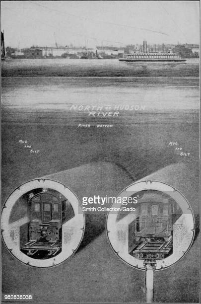 Black and white image depicting a crosssection view of two trains running in tunnels set to the mud and silt of the bay north of Hudson River with a...