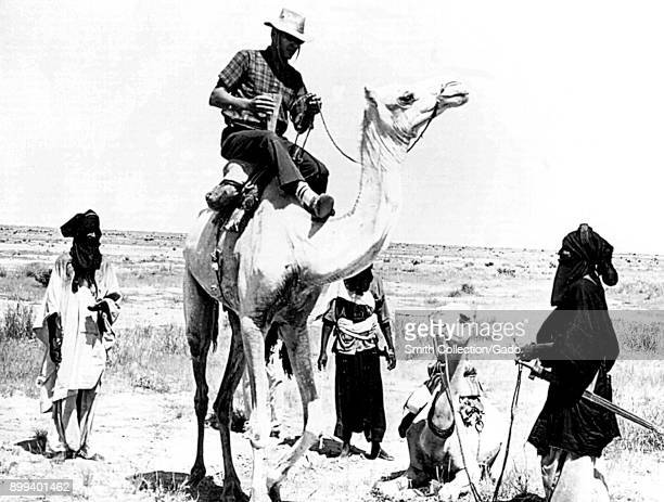 Black and white image depicting four men and two camels three men in African clothing one holding the lead of a seated camel stand in a semicircle...