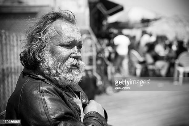 Black and White Image, Homeless Man Portrait on Street, Copyspace
