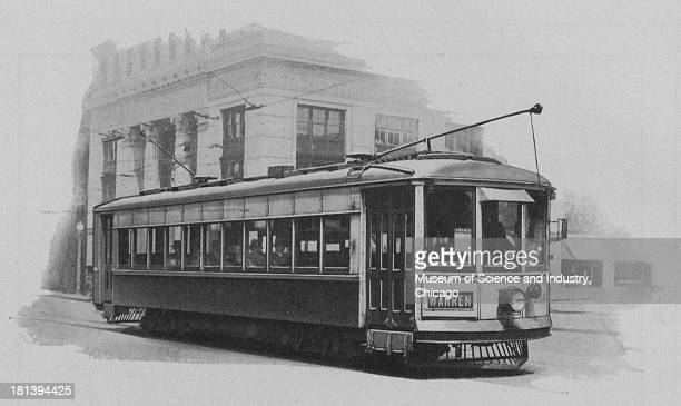 Black and white image of an Interurban car that is operating for the PennsylvaniaOhio Electric Company October 1926 It is on the line between...