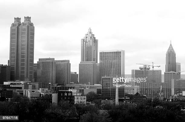 black and white image of atlanta skyline - atlanta skyline stock pictures, royalty-free photos & images