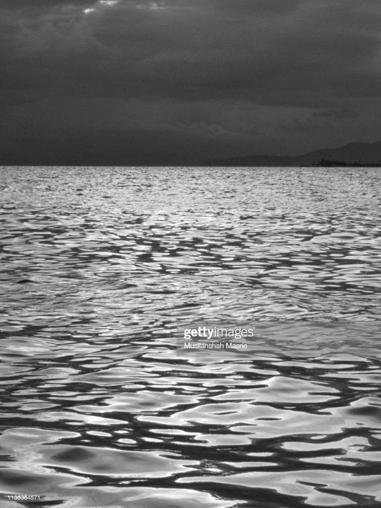 Black and white image of Seamless Water Surface Pattern : Stock Photo