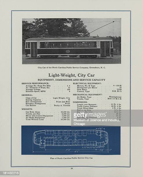 Black and white image of the side view of a LightWeight City Car the one illustrated above belongs to the North Carolina Public Service Company in...