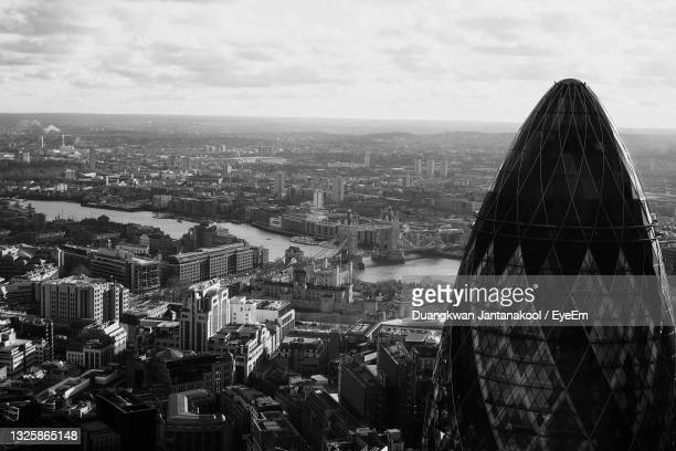 black and white image of the tower bridge in high angle view and the shard in foreground london 2017 - cityscape stock pictures, royalty-free photos & images