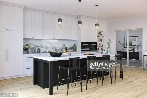 black and white kitchen - modern stock pictures, royalty-free photos & images