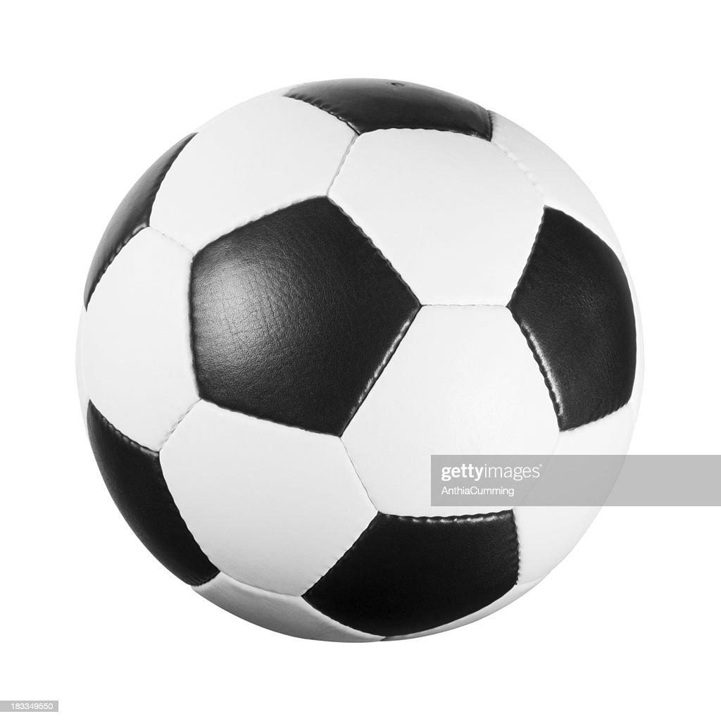 Noir et blanc de football en cuir sur fond blanc : Photo