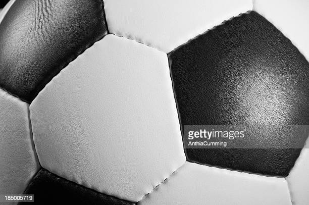 Black and white leather soccer ball texture and detail