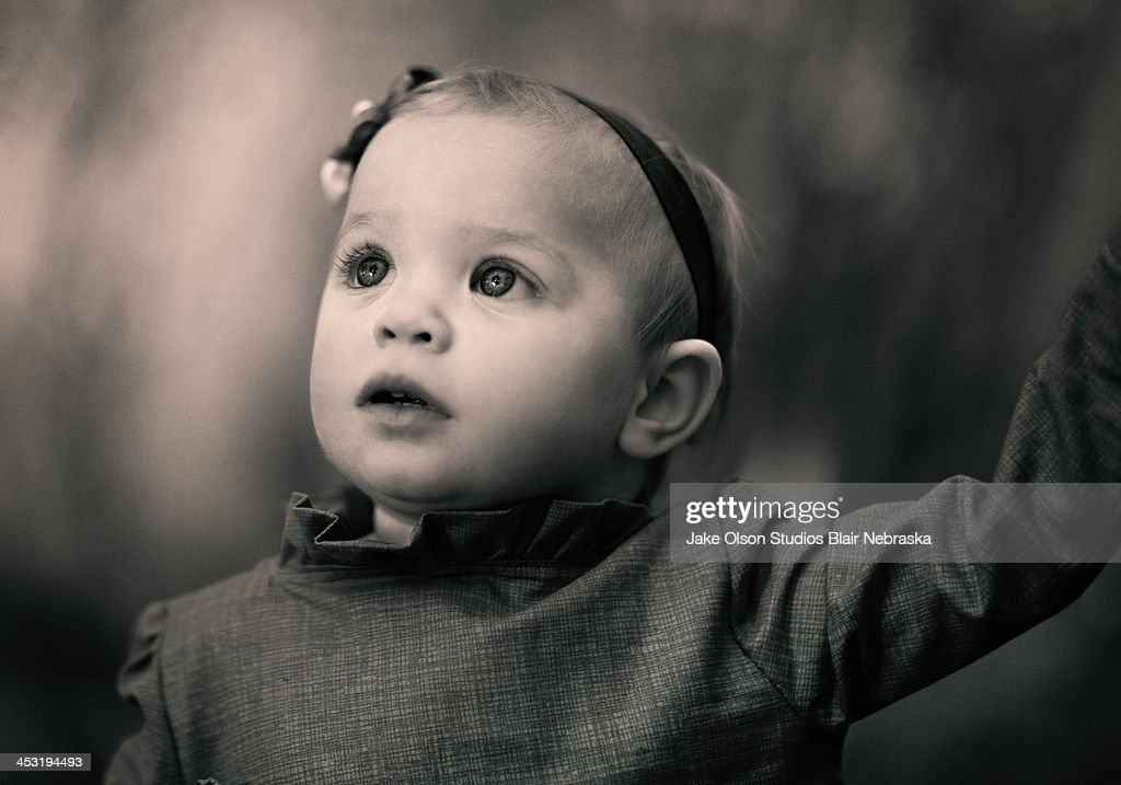 Black and White Little Girl : Stock Photo