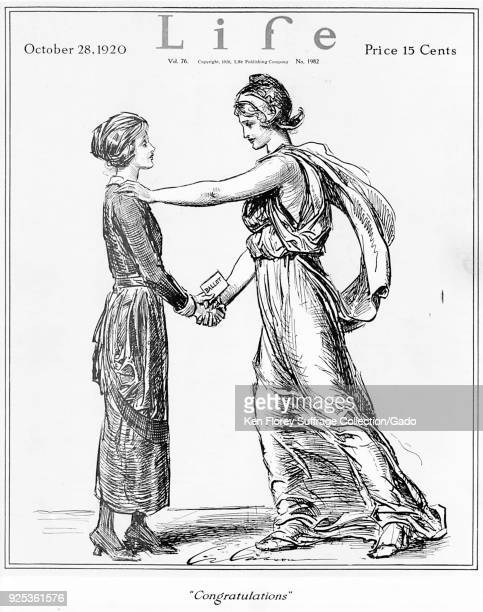 Black and white magazine cover depicting Lady Liberty congratulating a woman on the passage of the National Suffrage Amendment in 1920 captioned...