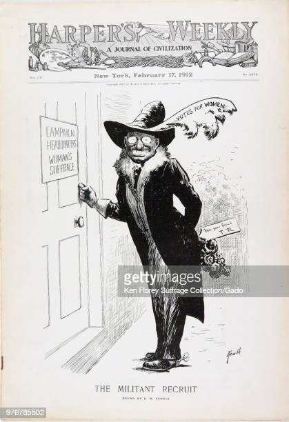 Black and white magazine cover depicting then Bull Moose Party presidential candidate Theodore Roosevelt Jr wearing an Edwardian women's hat and fur...