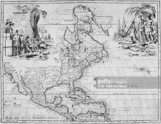 Black and white map of The Arctic Greenland North America Central America and the Caribbean islands with place names and illustrations at the upper...