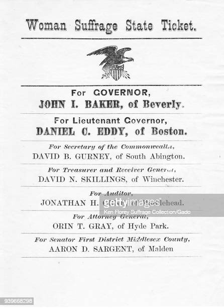 Black and white Massachusetts suffrage ticket campaign poster listing the male candidates pledged to the cause including John L Baker for governor...