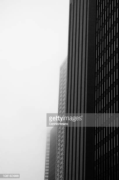 Black and White of Chicago Buildings in Fog