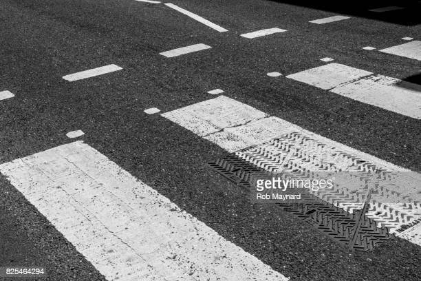 Black and White of pedestrian crossing