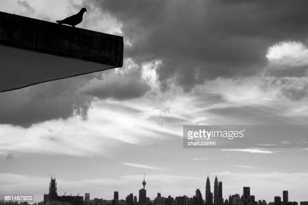 black and white of sunset over downtown kuala lumpur, malaysia - shaifulzamri stock pictures, royalty-free photos & images