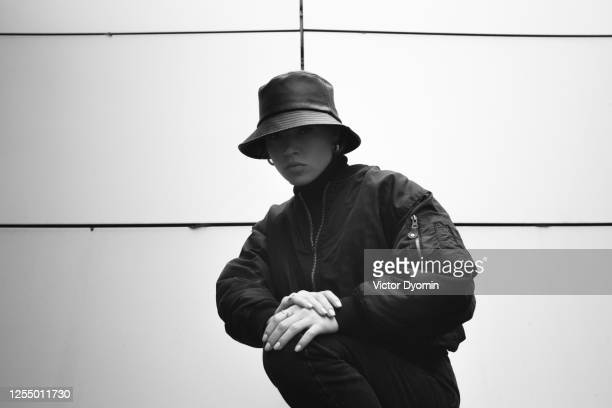 black and white outdoor portrait of the stylish girl - rap stock pictures, royalty-free photos & images