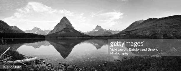 Black and White Panorama of Swiftcurrent Lake at Glacier National Park