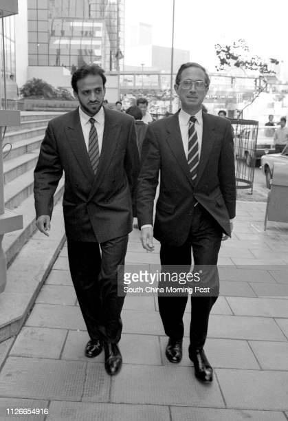 Black and white photo Jeremy Mathews with Amir Nasir at Wan Chai Court 24 January 1990
