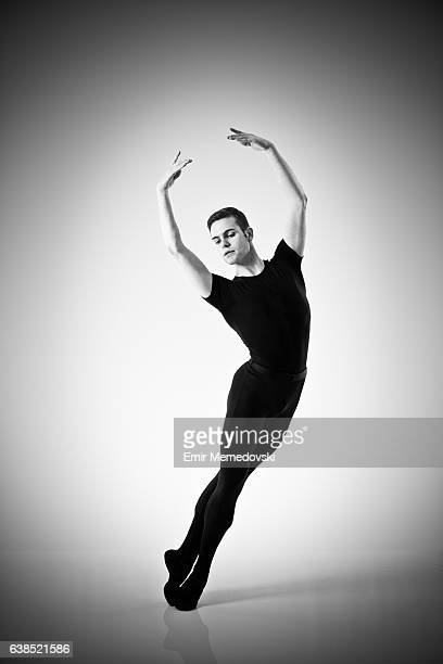 Black and white photo of a male ballet dancer