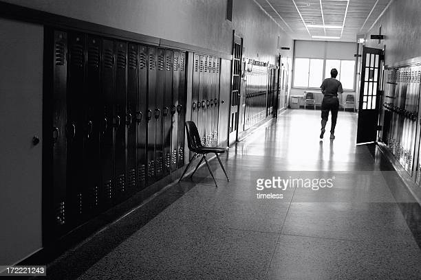 Black and White Photo of a School Hallway