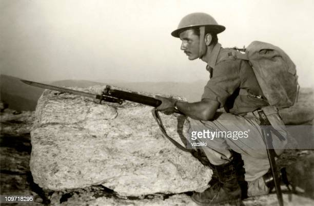 a black and white photo of an armed soldier - bayonet stock pictures, royalty-free photos & images