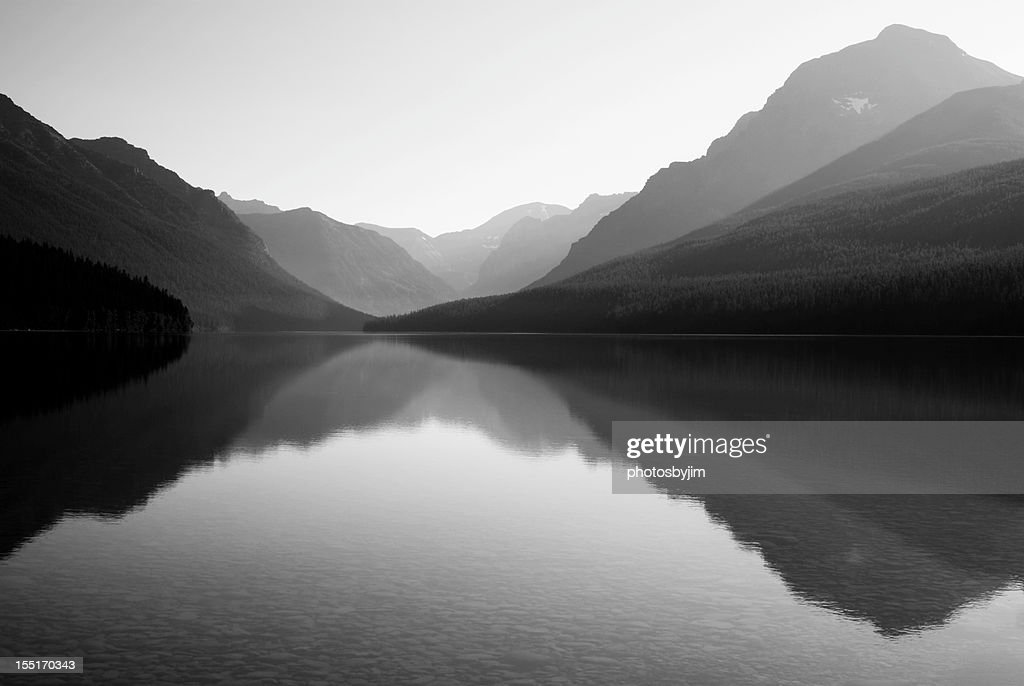 Black and white photo of bowman lake