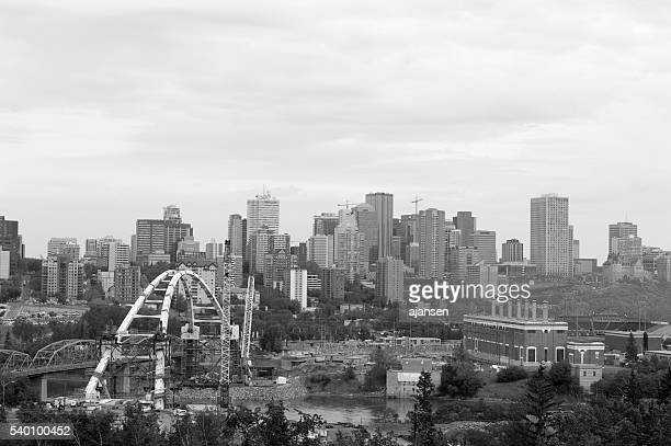black and white photo of downtown edmonton, alberta may 2016