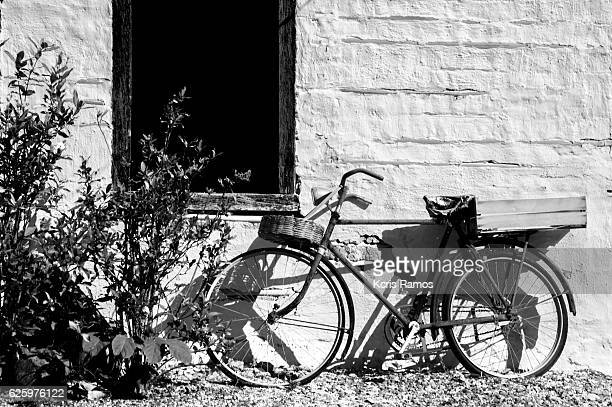 Black and white photo of old bicycle under window