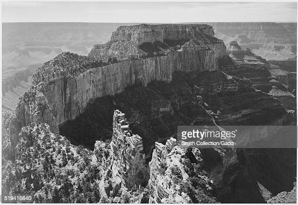 Black and white photograph closein view of cliff captioned 'Grand Canyon National Park' by Ansel Adams from Photographs of National Parks and...