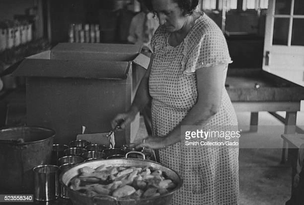 """Black and white photograph of a woman working in a kitchen canning in Dyess Colony one of the most famous """"resettlement colonies"""" for impoverished..."""