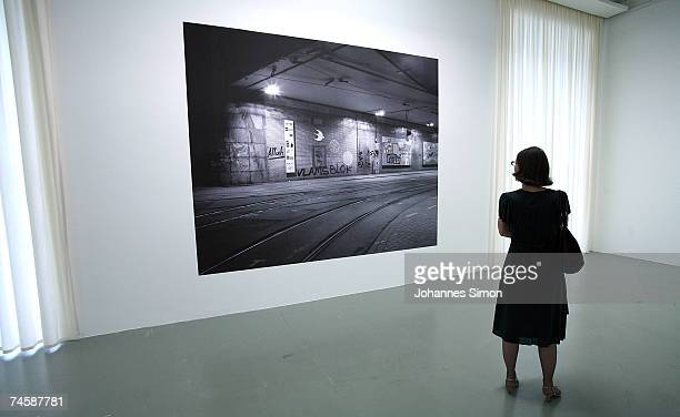 A black and white photograph of Netherland artist Lidwien van de Ven is displayed during a media preview of Documenta 12 on June 13 2007 in Kassel...